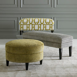 Custom Ottomans and Benches by Bassett Furniture - Customize your ottoman or bench with over 1,000 fabrics and 60 leathers. Add welting, nail head trim, tufting and more! Choose from all fabric, multiple fabric combo, all leather, fabric leather combo, contrasting welt or decorative cord, wood finished and nail head trim!