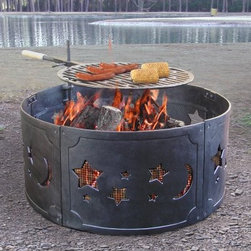 Landmann Big Sky Firering Stars and Moons Fire Pit - Watch outer space glow brighter than ever with the Landmann Big Sky Firering Stars and Moons Fire Pit. Made of durable cast iron with charming designs cut into the sides, it provides ample ambiance. Cooking grate included, this pit transforms into a grill quickly. It also breaks down into five panels for easy storage and transport