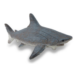 Zeckos - Gray Weathered Finish Wood Look Shark Statue - This gray shark statue is a salty addition to beach and nautical themed homes, and a fun accent in a child's room. Crafted from cast resin, it's molded to look just like aged wood and hand-painted with a water weathered finish. Measuring 14 inches (36 cm) long, 4.75 inches (12 cm) wide and 5.5 inches (14 cm) high, it's great for shelves, as a desk accent, bookcases or anywhere you want to take a 'bite' out of a boring space, and makes a wonderful gift for shark enthusiasts.