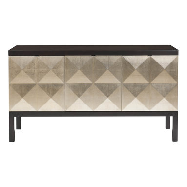 Kathy Kuo Home - Sterling Hollywood Regency Sideboard With Faceted Gold Leaf Front - When you add this stylish sideboard to your home, you can rest assured diamonds are a girl's (or guy's) best friend. The doors are covered in diamond-patterned silver leaf and open to reveal multifaceted storage, with shelves and drawers galore. The sustainably harvested frame is finished in a dark espresso stain for extra drama and contrast.