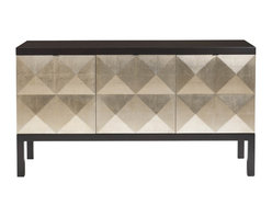 Kathy Kuo Home - Sterling Hollywood Regency Faceted Gold Leaf Front Sideboard - When you add this stylish sideboard to your home, you can rest assured diamonds are a girl's (or guy's) best friend. The doors are covered in diamond-patterned silver leaf and open to reveal multifaceted storage, with shelves and drawers galore. The sustainably harvested frame is finished in a dark espresso stain for extra drama and contrast.