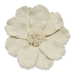 Kathy Kuo Home - Georgia Global Ivory Ceramic Floral Wall Sculpture - Opulent and organic, this oversized flower is sculpted from natural clay and finished in matte ivory. Modern and magnificent, this slim silhouette works well in an entry or hallway to make a grand statement in a small space. Delicately detailed petals add a lively, effortless accent.