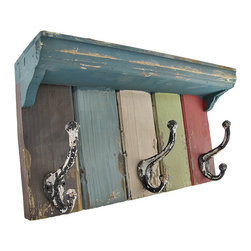 Vintage Look Multicolored Wooden Wall Plaque with Metal Hooks/Shelf - This wooden shelf with metal hooks is a practical accent to your home decor. The hooks are perfect for hanging hats, coats, dog leashes, and bags, while the shelf is great for sunglasses, phones, wallets, or anything else you might grab on the way out. This piece measures 15 3/4 inches long, 8 1/2 inches high, 4 inches deep, and has a wonderfully distressed finish. It easily mounts to the wall with 2 nails or screws by the hangers on the back, and makes a great gift for a friend.