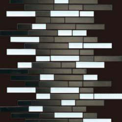 Stainless Steel & Glass Mix 12x12 Interlocking Mosaic - Stainless Steel & Glass Mix 12x12 Interlocking Mosaic