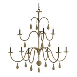 Currey and Company - Bayside Chandelier - Hand-wrapped abaca rope over a large nine-light wrought iron chandelier frame with pendant drops is covered over all with a putty wash. The design and finish give this piece its light and airy feel while using natural elements to their best advantage.