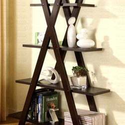 Coaster - Contemporary X-Bookcase - Four cascading shelves. Cappuccino finish. 47.25 in. W x 14.25 in. D x 59 in. H. WarrantyThis cool bookcase offers a distinctive storage solution for any room in your home. Shelves are stacked from small to larger, for plenty of storage space for books, framed photos and your favorite decorative accent items. Create a stylish look in your home with this unique book shelf.