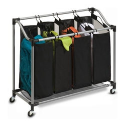 Honey Can Do - Honey-Can-Do Deluxe Quad Laundry Sorter with Polyester Bag - Sleek and contemporary, this sorter is both stylish and highly functional. Set on smooth glide wheels for easy maneuvering, the heavy-duty steel frame is both durable and rust-resistant. Four removable sorter bags are convenient for sorting and carrying laundry. Metal handles offer exceptional durability. Bags feature breathable mesh material on two sides to keep laundry from storing odors. Mesh material also serves as the bottom of the sorter to help keep heavy loads off of the ground. Contemporary styling and full-featured functionality make this sorter a great choice. Some assembly required.