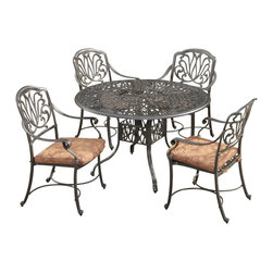 Home Styles - Home Styles Floral Blossom 5 Piece Dining Set in Charcoal-42 Inch Table - Home Styles - Dining Sets - 5558308 -By combining outdoor elements such as ceremonial and abstract floral designs, the Floral Blossom Dining Set by Home Style is brought to life. Set includes: One (1) table and Four (4) arm chairs with cushion.