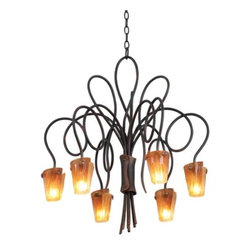 Kalco Lighting - Tribecca Chandelier No. 4308/4309 by Kalco Lighting - The Kalco Tribecca Chandelier No. 4308/4309 is a luxurious lighting accent for the living room. Its hand-forged wrought iron chandelier arms have a vine-like feel and they emanate with elegance and warmth. Features two glass shade options and a rich variety of finishes.Kalco features hand-forged wrought-iron designs in rich, hand-painted finishes that begin with premium iron stock heated in a fire pit and shaped with a hammer and anvil by artisans.The Kalco Lighting Tribecca Chandelier No. 4308/4309 is available with the following:Details:Glass shadesHand-forged wrought iron frameCeiling canopy4' of chainOptions:Finish: Antique Copper (shown), Antique Gold, Bayou, Bellagio, Black, Copper Claret, Escalante, Feldspar, Havana, Rustic, Satin Bronze, Tawny Port, Tortoise Shell, or Tuscan Sun.Glass: Flame (shown), or Frost.Number of Lights: 6 Lights (shown), or nine Lights.Lighting:6 Lights option utilizes six 60 Watt 120 Volt Type G9 Halogen lamps (not included).9 Lights option utilizes nine 60 Watt 120 Volt Type G9 Halogen lamps (not included).Shipping:This item usually ships within 48 hours.