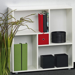 "Tvilum - Blink Bookcase Cube in White - Features: -Bookcase Cube. -Collection: Blink. -Finish: White. -Construction material: Composite wood. -Reversible small drawer has different colored drawer front and back for. -Easy assembly. -Environmentally friendly materials and manufacturing methods. -Overall Dimensions: 30.31"" H x 29.53"" W x11.81"" D."