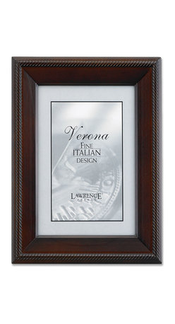 Lawrence Frames - Walnut Wood 8x12 Picture Frame - Tuxedo - Elegant walnut brown wood picture frame with intricate rope design bordering the outside.  High quality black wood backing with an easel for vertical or horizontal table top display, and hangers for vertical or horizontal wall mounting.    Hand finished 8x12 wood picture frame is made with exceptional workmanship and comes individually boxed.