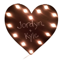 """Adorable Chalkboard Heart Marquee - Put your feelings up in lights with this heart marquee. The best part is that it's covered in a chalkboard suface so you can write what you want (and revise as needed). Hang it on the wall and prepare for the """"Awwws"""" to pour in."""