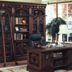 Parker House - Double Pedestal Executive Desk, Bookcase & La - Get stylishly organized with this five piece executive desk with double pedestals. Handsomely stained in dark red Walnut. Set includes Double Pedestal Executive Desk; 32 in. Open Top Bookcase; (2) 32 in. Glass Door Cabinet; and Library Ladder. Spanish Revival. Solid Poplar with Maple Veneers, cast metal (Zinc) door grills and metal accents. Dark red walnut stain with hand wiped overglaze, hammered nail head accents. 2 Pendaflex file drawers that fit both standard or legal folders. Pencil drawer has drop face to allow use as keyboard drawer or as lap-top station. Drawer boxes are English dovetail construction, both front and back for added strength and durability. All drawers have easy access from side mounted deluxe full-extension ball-bearing slides. Hidden wire management inside desk walls. Decorative front with enclosed curios and adjustable book/ accessory display. 3 pull-out convenience traysDimensions. Double Pedestal Executive Desk: 68 in. W x 36 in. D x 30 in. H. Open Top Bookcase: 32 in. W x 17 3/4 in. D x 94 1/4 in. H. Glass Door Cabinet: 32 in. W x 17 3/4 in. D x 94 1/4 in. H. Library Ladder: 14 1/4 in. W x 2 3/4 in. D x 78 in. H
