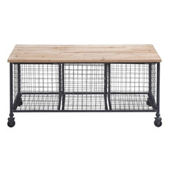 Benzara - Bench W Basket with High-Quality Casters - This Simple Metal Wood Bench W Basket with High-Quality Casters comes with a flat wooden top that is strong and sturdy to help you undertake any task with gusto. It includes three metal baskets below the bench that can hold your tools, spare supplies and other stuff. With its high-quality casters, this bench is easy to move around. The high-quality wood used is resistant to weather and sustains wear and tear. This work bench is every mechanical or electronic professional's ultimate place of work. This is the place where all the mechanical, electronic and electrical innovations take place, as does all the repair work for technical professionals. Rust-resistant metal makes this bench ideal for any weather. You can even use this bench in your kitchen to store supplies in the baskets and the top for storage or cutting and peeling. What's more the top also doubles up as a great place to get some rest when tired!.