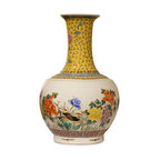 China Furniture and Arts - Hand-Painted Chinese Peony and Birds Design Porcelain Temple Vase - Painstakingly hand made by artist in China, this porcelain temple vase is hand-painted with peony blossoms and birds, which represent happiness and harmony in Chinese culture. Display it on a console table or niche where it is sure to be admired for its beauty. This is one-of-a-kind item to collect.