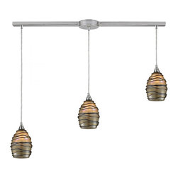 Joshua Marshal - Three Light Satin Nickel Multi Light Pendant - Three Light Satin Nickel Multi Light Pendant