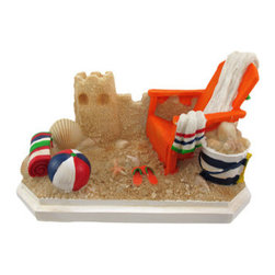 Beach Theme Wine Bottle Holder Kitchen Decor Ocean - This incredibly gorgeous beach scene bottle holder figurine is great for holding wine bottles, liquor bottles, or for holding olive oil as part of your kitchen decor. Made of cold cast resin, it features a beach chair, towel, sand, shells, flip-flops and a sand castle. The holder stands 4 1/2 inches tall, is 8 inches wide, and 4 1/2 inches deep. It makes a great gift for any beach lover. Sorry, the wine bottle in the pictures is not included.
