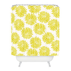 Khristian A Howell High Society Shower Curtain - The bright print on this shower curtain is guaranteed to awaken you and your bath. Giant goldenrod peonies burst against an ivory background to shower you in cheerful color. Each piece is custom printed on woven polyester and is machine washable. Add a splish splash of style to your life.