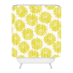 DENY Designs - Khristian A Howell High Society Shower Curtain - The bright print on this shower curtain is guaranteed to awaken you and your bath. Giant goldenrod peonies burst against an ivory background to shower you in cheerful color. Each piece is custom printed on woven polyester and is machine washable. Add a splish splash of style to your life.