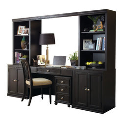 American Drew - American Drew Camden-Dark Home Office Suites in Black - The Camden-Dark accents simple forms with quiet traditional references, gentle curves and a beautiful rustic black finish that lets the character of the wood show through. The brushed nickel finish hardware adds even more character to Camden. This collection will work great in most any setting. Create an urban rustic loft, a classic antique look or a mountain vacation home.
