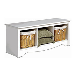 Monterey Cubbie Bench - White - This storage bench is so handy for the entry way. You can sit and put on those clunky boots for going outside and grab your mittens from the under-seat storage.