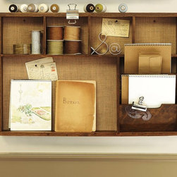Rustic Wall Organizer, Activity Center - With a cork background and shelves, this could easily host messages, as well as handle a small cup with pens and notepads.