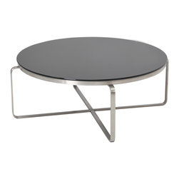 sohoConcept - Metro Round Coffee Table - Do not be surprised if you start eating, working, everything short of sleeping, around this incredibly modern, sophisticated, sleek and stylish Metro Round Coffee Table by sohoConcept. The sleek, unique design of the connected, curved stainless steel legs gives a modern aesthetic to the round wenge finished oak or black tempered glass top of this sophisticated cocktail table. A talking piece in itself, this stylish modern table is sure to turn heads from all around.