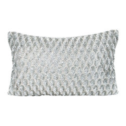 "Pyar & Co - Pompano Silver Decorative Pillow - Shimmering textures make a modern statement on the Pompano pillow. Silver sequins form a striking tiled pattern for alluring visual glam. 20""W x 14""H; Spot clean only; Insert included; Handmade"
