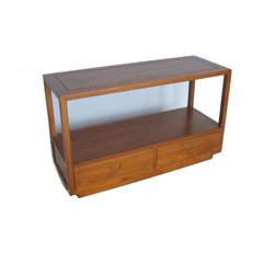 Sofa Back Console Table - This simple and clean lined console is a multi-purpose piece that matches well with any sofa. Light lacquer finish showcases its expressive wood grain.  Its informal appeal is ideal as a showcase for books or decorative objects. Two drawers give additional storage room.