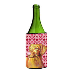 Caroline's Treasures - Vizsla Hearts Love and Valentine's Day Portrait Wine Bottle Koozie Hugger - Vizsla Hearts Love and Valentine's Day Portrait Wine Bottle Koozie Hugger Fits 750 ml. wine or other beverage bottles. Fits 24 oz. cans or pint bottles. Great collapsible koozie for large cans of beer, Energy Drinks or large Iced Tea beverages. Great to keep track of your beverage and add a bit of flair to a gathering. Wash the hugger in your washing machine. Design will not come off.