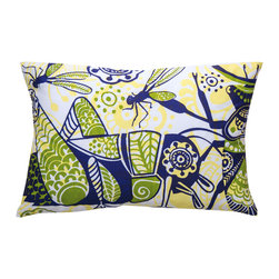 "KOKO - Wild Pillow, Grasshopper, 13"" x 20"" - Hop to it! Grasshoppers symbolize abundance, longevity and all-around good luck — not a bad vibe to throw around your living room. Plus, the screen-printed imported cotton is so easy care — just remove the insert and pop it in the washer."