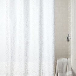 """Charisma - Samara Shower Curtain - WHITE (SHOWER TOWEL) - CharismaSamara Shower CurtainDetailsBy Charisma .Crisp white cotton with metallic silver print.Machine wash.72""""Sq.Liner not included.Imported.Designer About Charisma:Charisma linens are known for an understated elegance with attention to detail and quality workmanship. The Charisma collection includes fine bedding and towels that are often crafted from luxurious fabrics such as Egyptian cotton and Supima cotton for a truly soft touch that endures."""