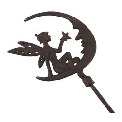 Zeckos - Rustic Finish Fairy and Moon Cast Iron Yard and Garden Stake - You'll always have a fairy in your garden when you choose this rustic finish fairy garden stake With fantastical magic of the fairy realm, it features a dainty fairy holding a star, sitting with the man in the moon. It's made from cast iron, and stands 47 inches ( 119 cm) high and 7.5 inches (19 cm) wide with a 1.25 inch (3 cm) diameter stake to secure this fairy in your bed of blooms, in the yard, or on the patio, and makes a wonderful gift for fairy or fantasy collectors