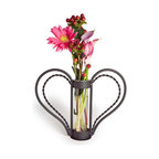 Danya B - Clear Glass Cylinder Flower Vase with Heart Shaped Iron Stand - This gorgeous Clear Glass Cylinder Flower Vase with Heart Shaped Iron Stand has the finest details and highest quality you will find anywhere! Clear Glass Cylinder Flower Vase with Heart Shaped Iron Stand is truly remarkable.