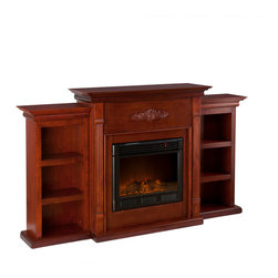 Holly & Martin - Fredericksburg Electric Fireplace with Bookcases, Mahogany - For the person who loves to curl up with a good book by the fire, this classic mahogany fireplace accommodates perfectly. On each side there is a bookshelf to display your favorite classic books. The mantel itself is adorned with tall slender fluted columns on either side of the firebox, traditional crown molding, and a symmetrical medallion applique. Portability and ease of assembly are just two of the reasons why our fireplace mantels are perfect for your home. Requiring no electrician or contractor for installation allows instant remodeling without the usual mess or expense. In addition to your living room or bedroom, try moving this fireplace to your dining room for romantic dinners or complement your media room with a vent less fireplace below your flat screen television. Use this great functional fireplace to make your home a more welcoming environment.