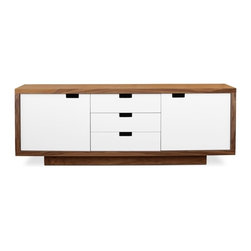 Gus Modern Wilson Cabinet - This versatile storage unit features a walnut cabinet, complemented by white laquered doors and drawers. It features intergrated handles and self-closing hardware. The doors conceal adjustable shelves.