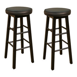 American Heritage - American Heritage Delta Stool in Black with Black Vinyl - 26 Inch (Set of 2) - A simple black on black stool that has a 360 degree full bearing swivel and a padded cushion. Perfect for any room of the house.