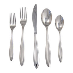 Ginkgo - Fontur 20-Pc. Flatware Set in Platinum Satin Finish - Includes: 4 salad forks, 4 dinner forks, 4 dinner knives, 4 dinner spoons, and 4 teaspoons. Tapered handle at the bottom. Perfect for everyday use or formal dining. Dishwasher safe. Satin finish. Material: 18/10 Stainless steelPointed and glacial in appearance, Fontur has a smooth feel with heavy 4 mm. construction. This imparts a fine  balance. Each handle is recessed with an elongated teardrop that is framed by polished sides.