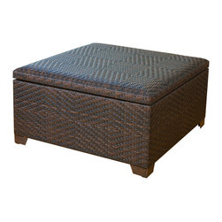 Great Deal Furniture - Castiac XL Outdoor Wicker Storage Ottoman - The Castiac XL Outdoor Wicker Storage Ottoman is beautifully woven with All-Weather PE Wicker allowing it to stand up to any outdoor condition or nestle amongst your living room couches. This storage ottoman is ideal for organization either indoors or out; Store your extra warm blankets during the summer or your pool toys from your backyard. Regardless of how you use the many functions of the wicker ottoman, it'll look stunningly attractive.