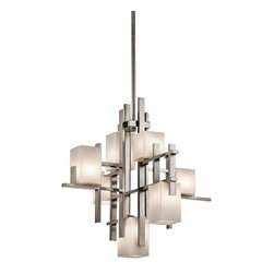 Kichler Lighting - Kichler Lighting 42940CLP City Lights Modern / Contemporary Chandelier - This 7 light chandelier from the City Lights collection is urban, and brings order to big, open spaces infusing city style to a modern home. Sloped ceiling kit included.