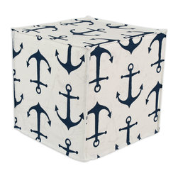 """Chooty - Chooty Anchors Premier/Navy Slub Collection 17"""" Square Seamed Foam Ottoman - Insert 100 High Density Foam, Fabric Content 100 Cotton , Color Navy, White, Hassock 1"""