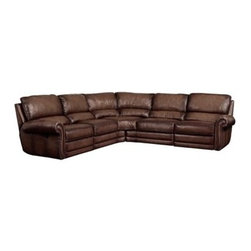 Saddleworks - Portman Reclining Sectional - Reclining on both end units. Must be used as 2 piece sectional. Stocked in leather shown (SED-1903)
