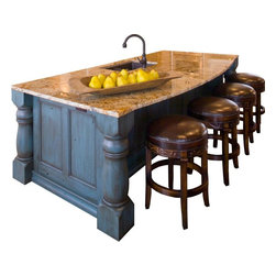 Dakota Kitchen and Bath - Individual Pieces - Make a statement in your kitchen with a massive island. This blue denim finish lends a cozy feel that invites you to pull up a stool!