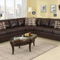 Poundex Furniture – U-Shaped Modular Leather Sectional Sofa - F7243/F7241/F7243 - Set Includes 3-Seater And Cuddle Wedge