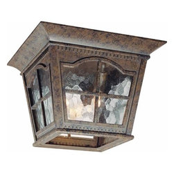 Volume Lighting - Volume Lighting V8270 Leeds 3 Light Flush Mount Ceiling Fixture - Three Light Flush Mount Ceiling Fixture from the Leeds CollectionIlluminate your outdoors with this fantastic 3 light flush mount outdoor ceiling fixture featuring dazzling water glass and bold amulet bronze finish.Features: