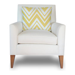 PURE Inspired Design - Zaida Accent Chair, Chevron-Bright Yellow - Our Zaida Accent Chair is stunning in any room. It is beautiful and graceful with half round arms and fitted patterned pillow. Our fabrics are 8oz 100% certified organic cotton canvas, which is grown, woven, and printed in the USA. The body fabric is in natural colored organic cotton canvas and the fitted pillow can be any of our PURE organic cotton canvas pattern fabrics. Our eco-friendly upholstery is very customizable with many options available, contact us for further information. We build healthy, quality, made in the USA furniture!