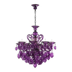 Cyan Design - Cyan Design Purple Murano Style Glass Contemporary 8-Light Chandelier - Add a touch of passion to the room with this spectacular chandelier. The Purple Murano Style Glass Contemporary chandelier from the Cyan Design collection displays a monochromatic look. The stylish and detailed chandelier provides a vibrant and passionate atmosphere to the room. It is a statement piece that will take your breath away.