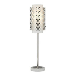 """Jonathan Adler Lighting - Parker Buffet Lamp by Jonathan Adler Lighting - The Jonathan Adler Parker Buffet Lamp: the perfect retro accent for dining and living rooms. The perforated metal outer shade is an attention-grabber, and the inner white frosted cased glass shade is a perfect contrast. Available in two finish styles; with a on-off line switch. Jonathan Adler is known for a design aesthetic that combines bold colors, modernistic forms and groovy retro patterns. One of the country's leading interior designers, Jonathan Adler has also been the lead designer for Bravo's """"Top Design"""" series and creates lighting for Robert Abbey.Robert Abbey has been designing and manufacturing fine lighting since 1946. They offer a diverse collection--wall swingers, chandeliers, floor lamps and more--in a myriad of styles, from tradition to neoclassical to groovy. Collaborating with acclaimed designers Jonathan Adler, Rico Espinet and David Easton, Robert Abbey creates impeccable lighting that is perfect for modern everyday living.The Robert Abbey Parker Buffet Lamp is available with the following:Details:Perforated outer metal shadeCylindrical White Frosted Cased glass inner shadeMetal stem and accentsOn-off line switchUL ListedDesigned by Jonathan AdlerOptions:Finish and Base: Deep Patina Bronze with Matching Metal, or Polished Nickel with White Carrara Marble (shown).Lighting: One 60 Watt 120 Volt Type A Incandescent lamp (not included).Shipping:This item usually ships within 4-6 weeks."""
