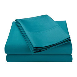 600 Thread Count Full Sheet Set Solid Cotton Rich - Teal - Cotton Rich 600 Thread Count Full Teal Sheet Set