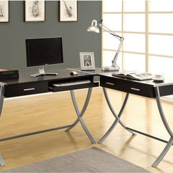 Monarch - Hollow-core Cappuccino 3-piece Corner Desk - Organize your workspace with a modern 3-piece corner desk. This Hollow-core black and silver desk includes a handy pull-out keyboard tray. Use this desk to save space in your office while keeping in line with a modern and contemporary decor.